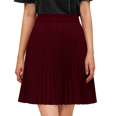 A-line Knitted Knee Length Pleated Skirt_59