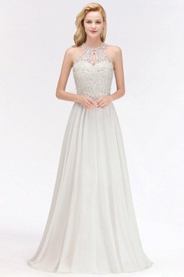 Halter Full Back Applique Beaded Pearls Chiffon A Line Prom Dresses_9