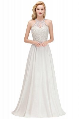 Halter Full Back Applique Beaded Pearls Chiffon A Line Prom Dresses_11