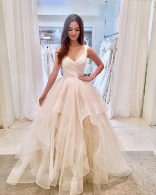 Stunning Straps V-neck Tiered Puffy Prom Dresses_2