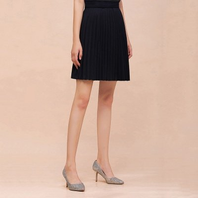 A-line Knitted Knee Length Pleated Skirt_31
