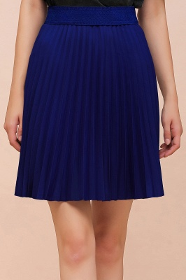 A-line Knitted Knee Length Pleated Skirt_156