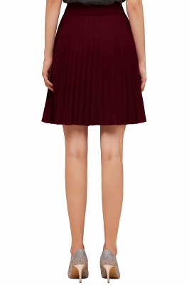 A-line Knitted Knee Length Pleated Skirt_143