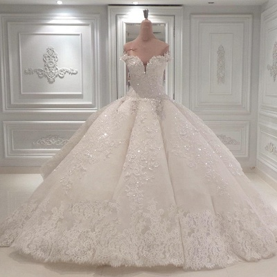 Off The Shoulder Sweetheart Illusion Back Lace Applique Beading Ball Gown Wedding Dresses