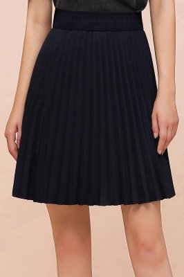 A-line Knitted Knee Length Pleated Skirt_115