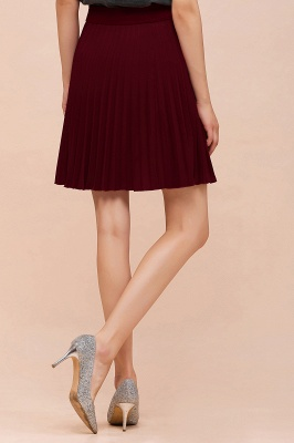 A-line Knitted Knee Length Pleated Skirt_147