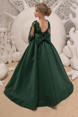 Dark Green Square Lace Long Sleeve Backless Ruffles A Line Flower Girl Dresses | Backless Sash Dress With Bow_2