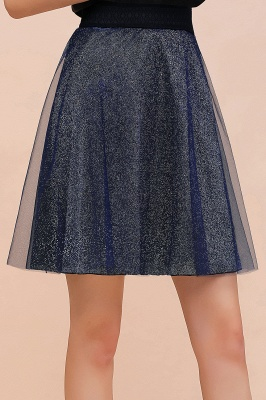 Sparkly Knee Length Metallic A-line Skirt_2