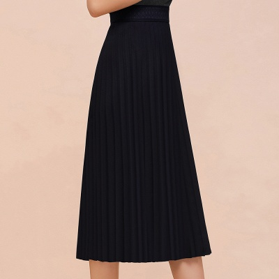 A-line Knitted Short Pleated Skirt_21