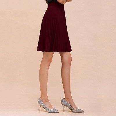 A-line Knitted Knee Length Pleated Skirt_52