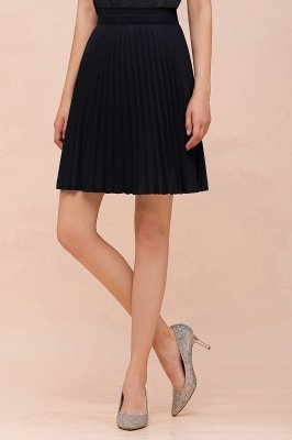 A-line Knitted Knee Length Pleated Skirt_96
