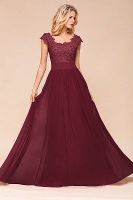 Cap Sleeve Scoop Lace Beading Floor Length Formal Evening Dresses | A Line Chiffon Sexy Prom Dresses_9