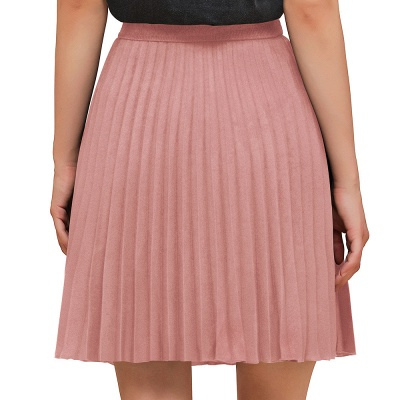 A-line Knitted Knee Length Pleated Skirt_2