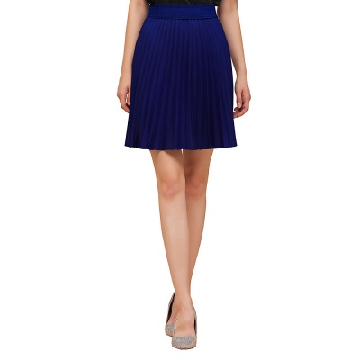 A-line Knitted Knee Length Pleated Skirt_65