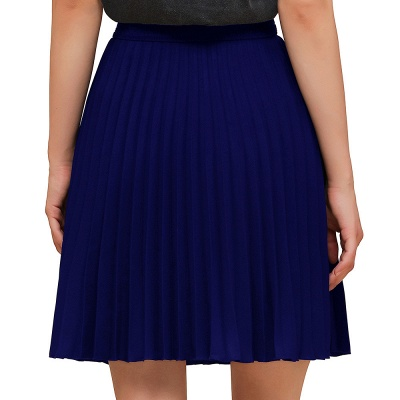 A-line Knitted Knee Length Pleated Skirt_25