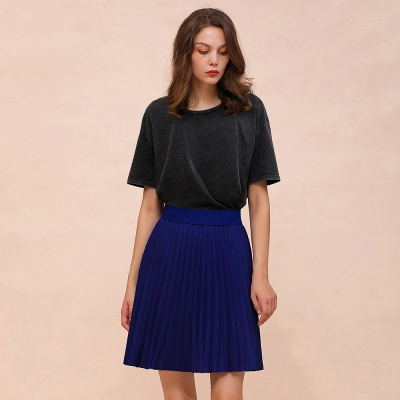 A-line Knitted Knee Length Pleated Skirt_66
