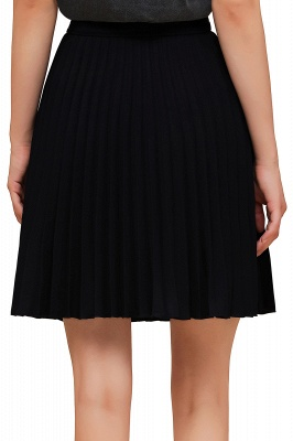 A-line Knitted Knee Length Pleated Skirt_128