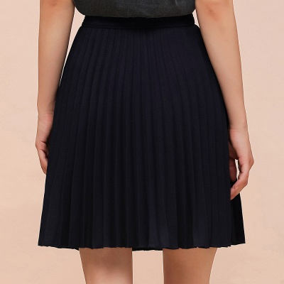 A-line Knitted Knee Length Pleated Skirt_8