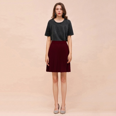 A-line Knitted Knee Length Pleated Skirt_46
