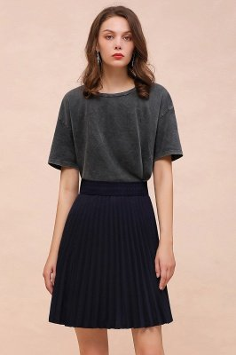 A-line Knitted Knee Length Pleated Skirt_120