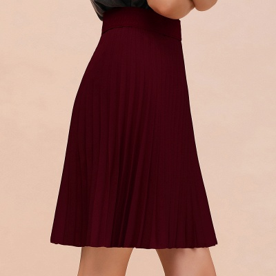 A-line Knitted Knee Length Pleated Skirt_64