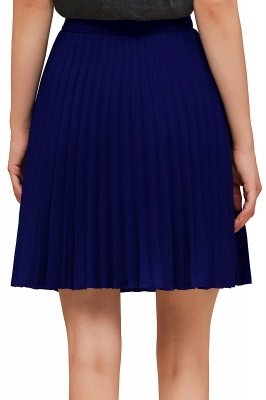 A-line Knitted Knee Length Pleated Skirt_126