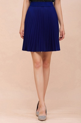A-line Knitted Knee Length Pleated Skirt_86