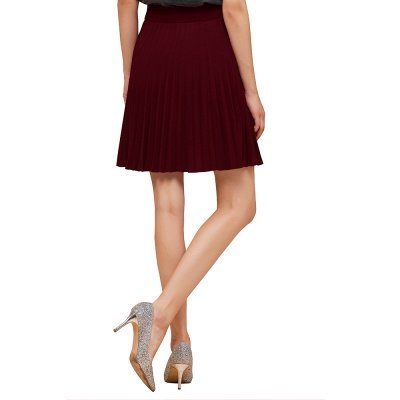 A-line Knitted Knee Length Pleated Skirt_57