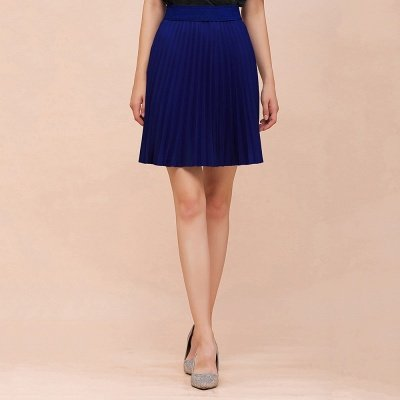 A-line Knitted Knee Length Pleated Skirt_70