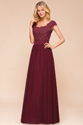 Cap Sleeve Scoop Lace Beading Floor Length Formal Evening Dresses | A Line Chiffon Sexy Prom Dresses_7