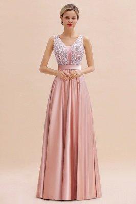 Pink Straps V Neck Beading Crystals A Line Floor Length Ruffles Prom Dresses | Backless Sash Evening Dresses_9