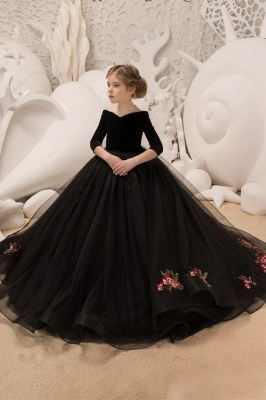 Black Princess V Neck Off The Shoulder 3/4 Sleeve Ball Gown Flower Girl Dresses | Pageant Dresses For Wedding