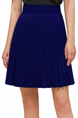 A-line Knitted Knee Length Pleated Skirt_127