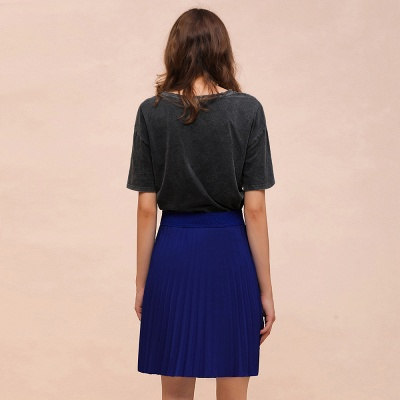 A-line Knitted Knee Length Pleated Skirt_72