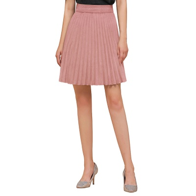 A-line Knitted Knee Length Pleated Skirt_37