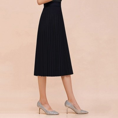 A-line Knitted Short Pleated Skirt_4