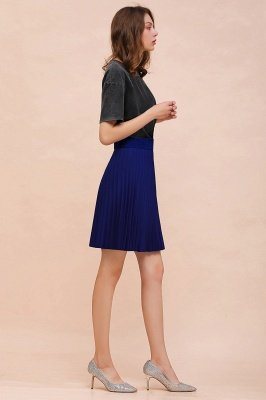 A-line Knitted Knee Length Pleated Skirt_85