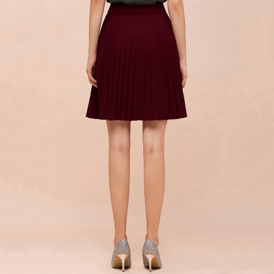 A-line Knitted Knee Length Pleated Skirt_54