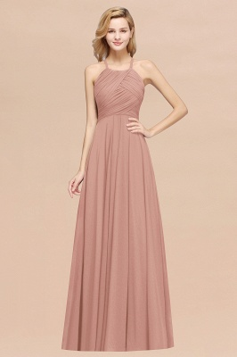 A-Line  Halter Ruffles Floor-Length Bridesmaid Dress_6
