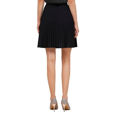 A-line Knitted Knee Length Pleated Skirt_32