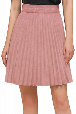 A-line Knitted Knee Length Pleated Skirt_130