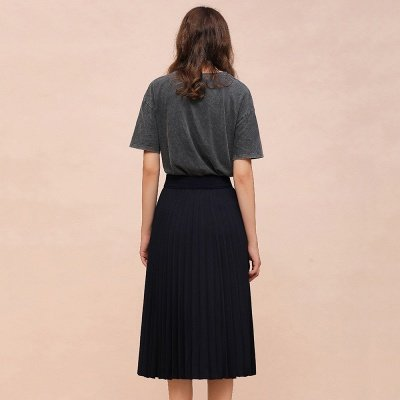 A-line Knitted Short Pleated Skirt_20
