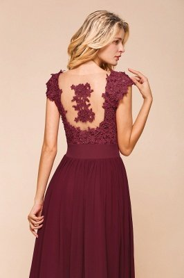 Cap Sleeve Scoop Lace Beading Floor Length Formal Evening Dresses | A Line Chiffon Sexy Prom Dresses_14