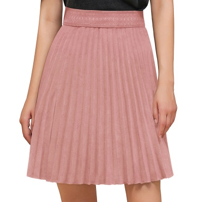 A-line Knitted Knee Length Pleated Skirt_1