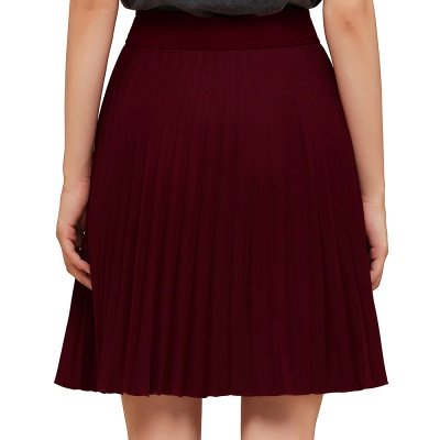 A-line Knitted Knee Length Pleated Skirt_63