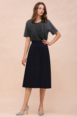 A-line Knitted Short Pleated Skirt_46
