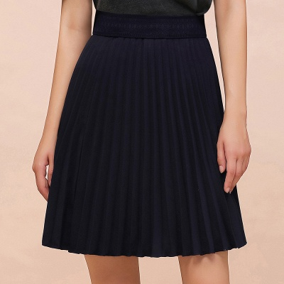 A-line Knitted Knee Length Pleated Skirt_6