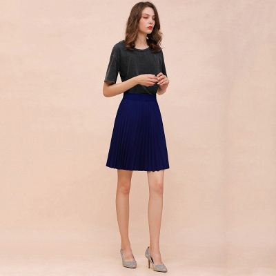 A-line Knitted Knee Length Pleated Skirt_76