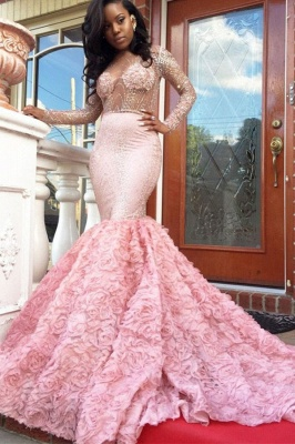 Luxury Pink Mermaid Prom Dresses Sheer Beading Long Sleeves Floral Skirt Evening Gowns