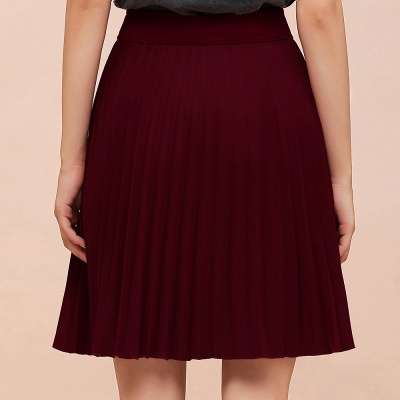 A-line Knitted Knee Length Pleated Skirt_58